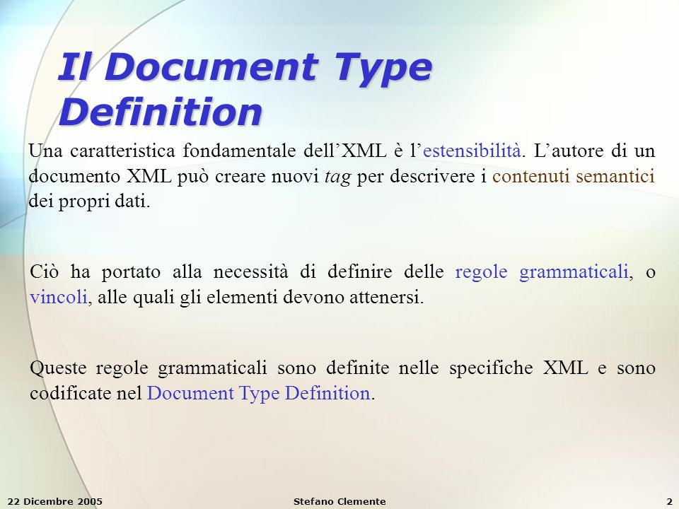 Il Document Type Definition