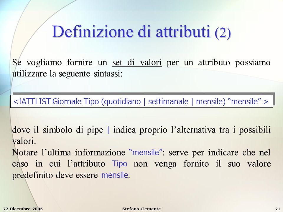 Definizione di attributi (2)