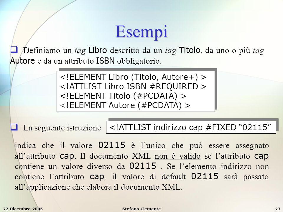 Esempi Definiamo un tag Libro descritto da un tag Titolo, da uno o più tag Autore e da un attributo ISBN obbligatorio.
