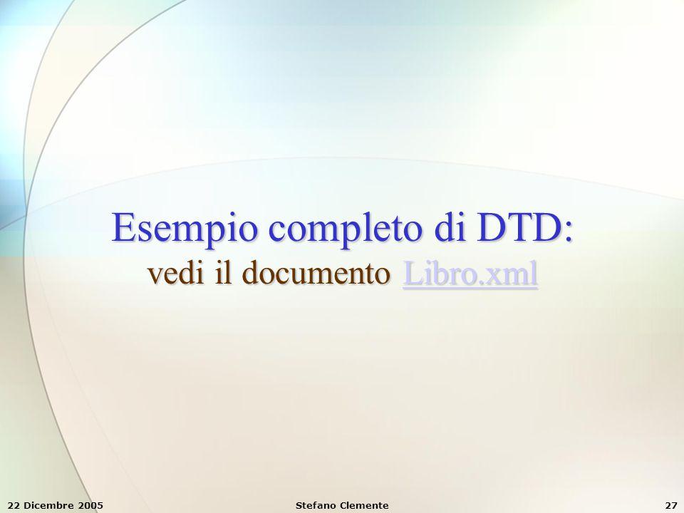 Esempio completo di DTD: