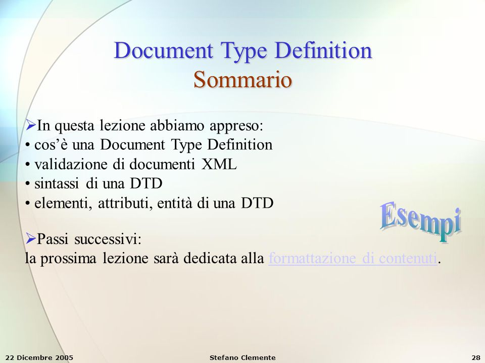 Document Type Definition Sommario