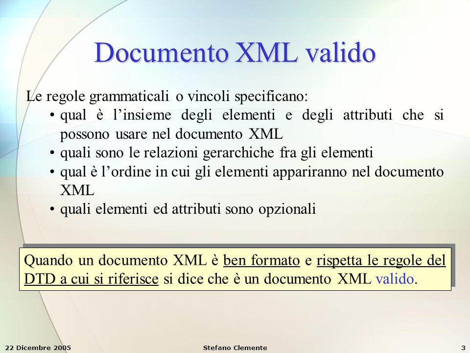 Documento XML valido Le regole grammaticali o vincoli specificano: