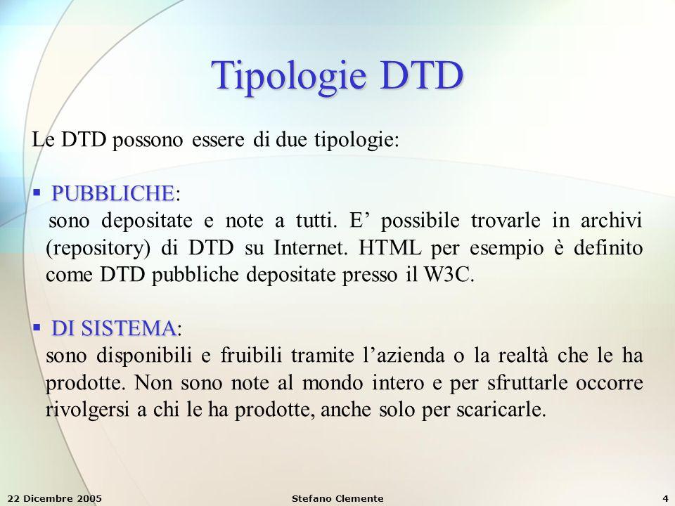 Tipologie DTD Le DTD possono essere di due tipologie: PUBBLICHE: