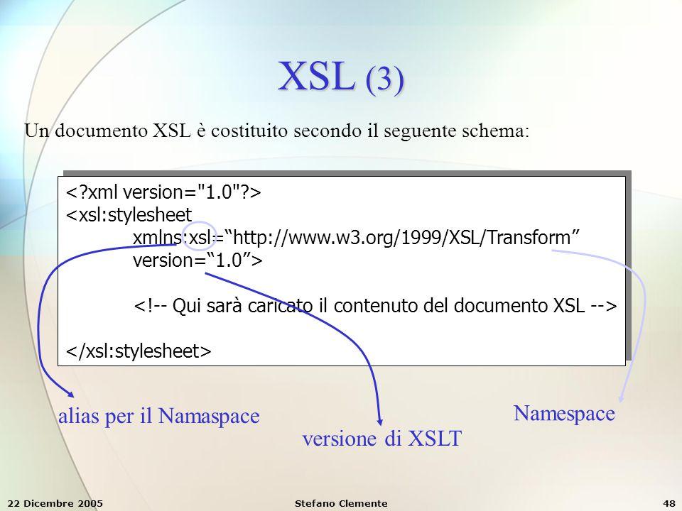 XSL (3) Namespace alias per il Namaspace versione di XSLT