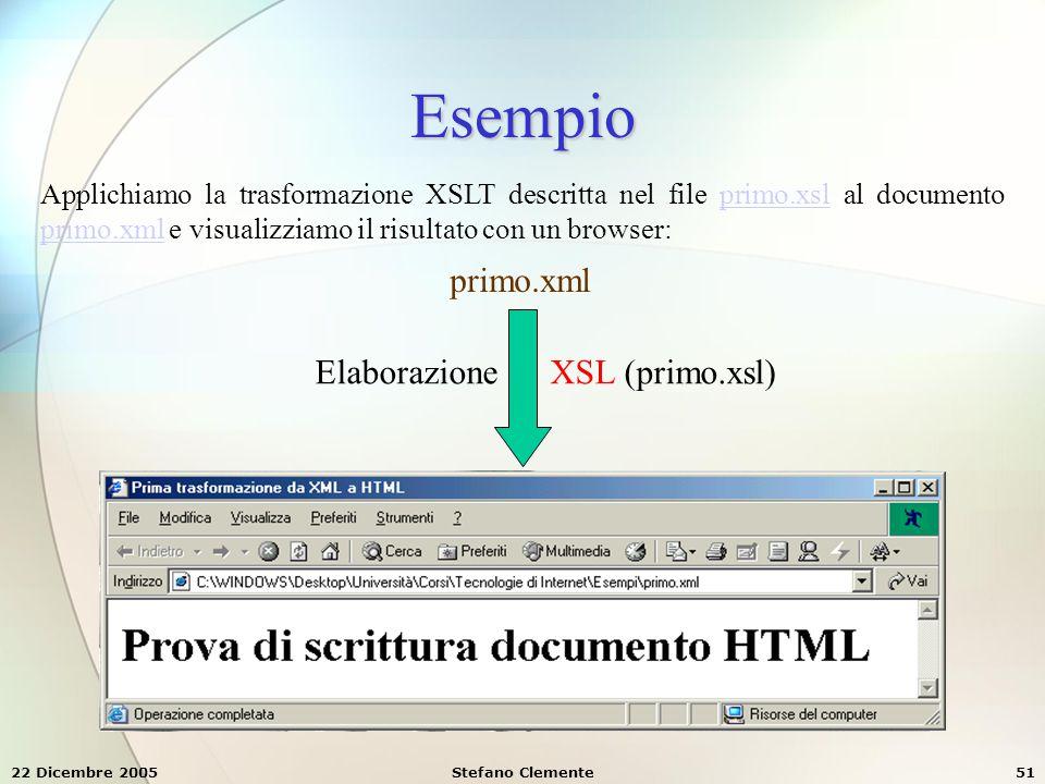 Esempio primo.xml Elaborazione XSL (primo.xsl)