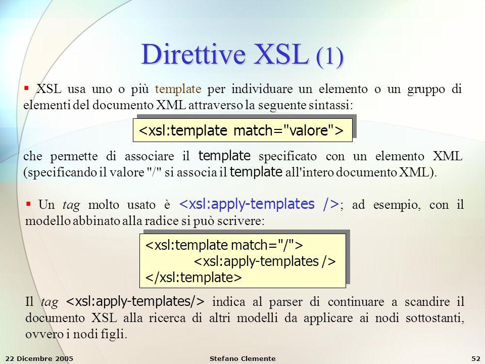 Direttive XSL (1) <xsl:template match= valore >