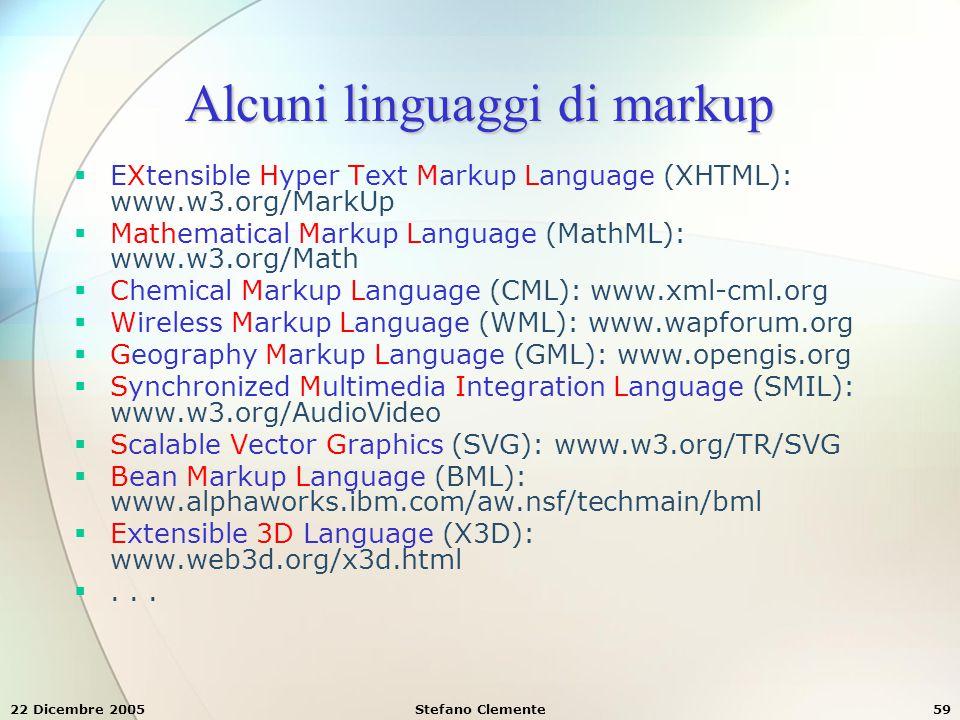Alcuni linguaggi di markup