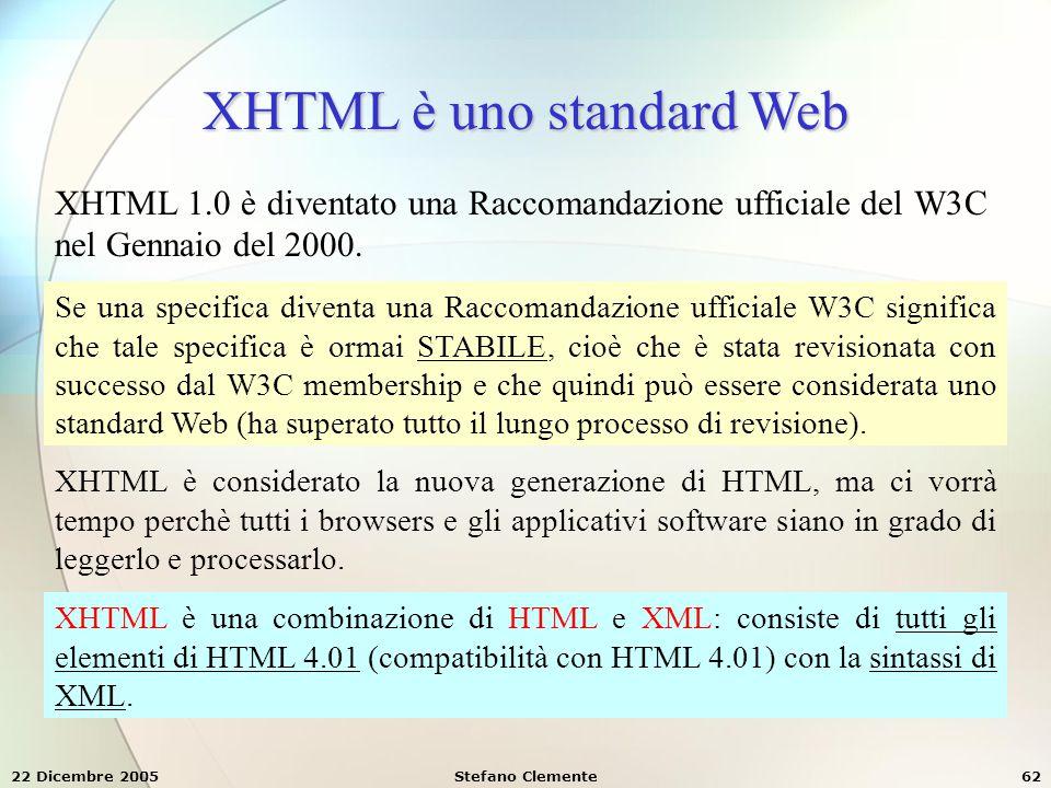 XHTML è uno standard Web