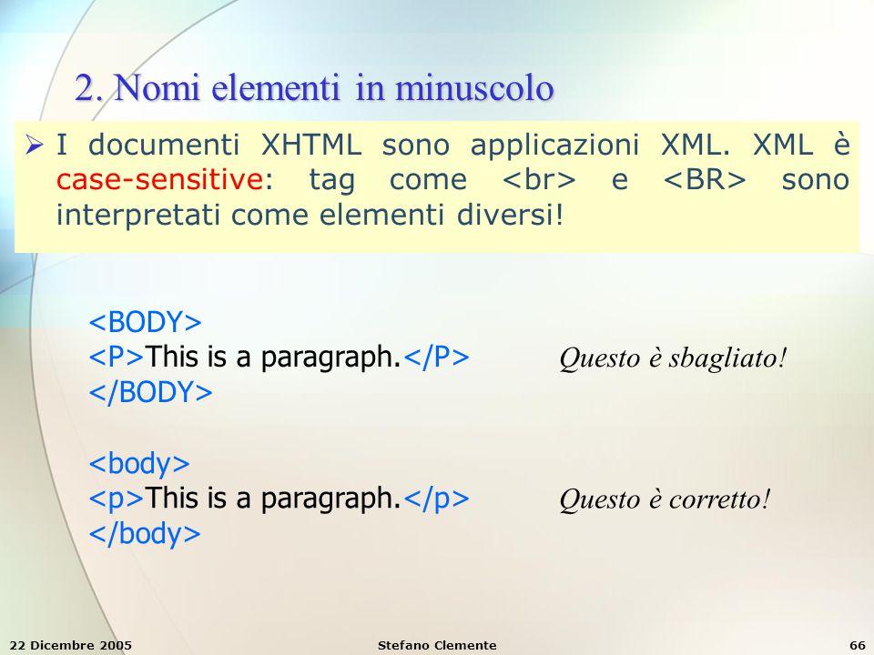 2. Nomi elementi in minuscolo