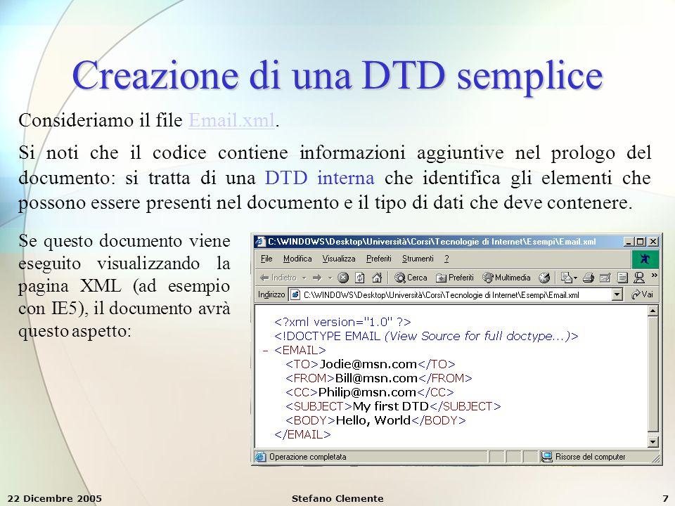 Creazione di una DTD semplice