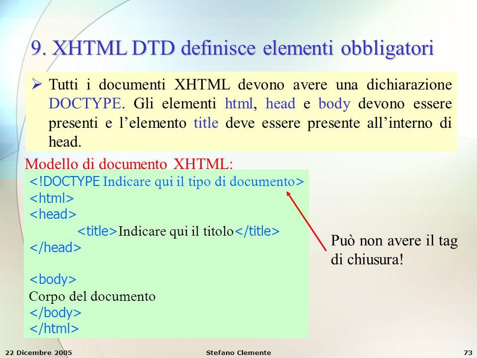 9. XHTML DTD definisce elementi obbligatori