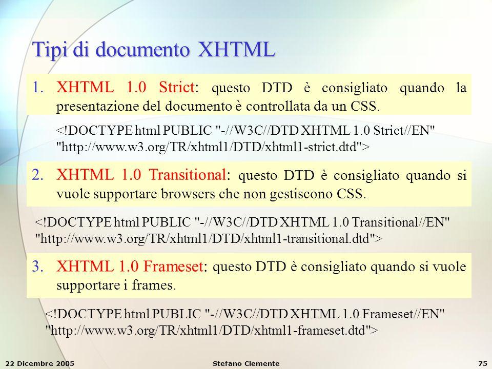 Tipi di documento XHTML