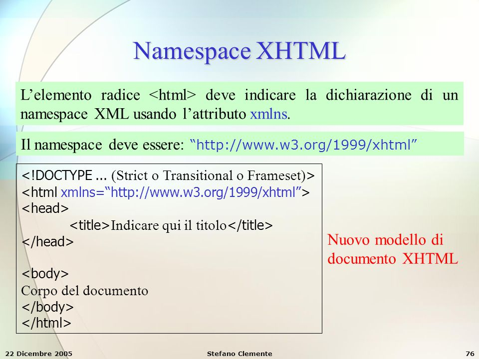 Namespace XHTML L'elemento radice <html> deve indicare la dichiarazione di un namespace XML usando l'attributo xmlns.