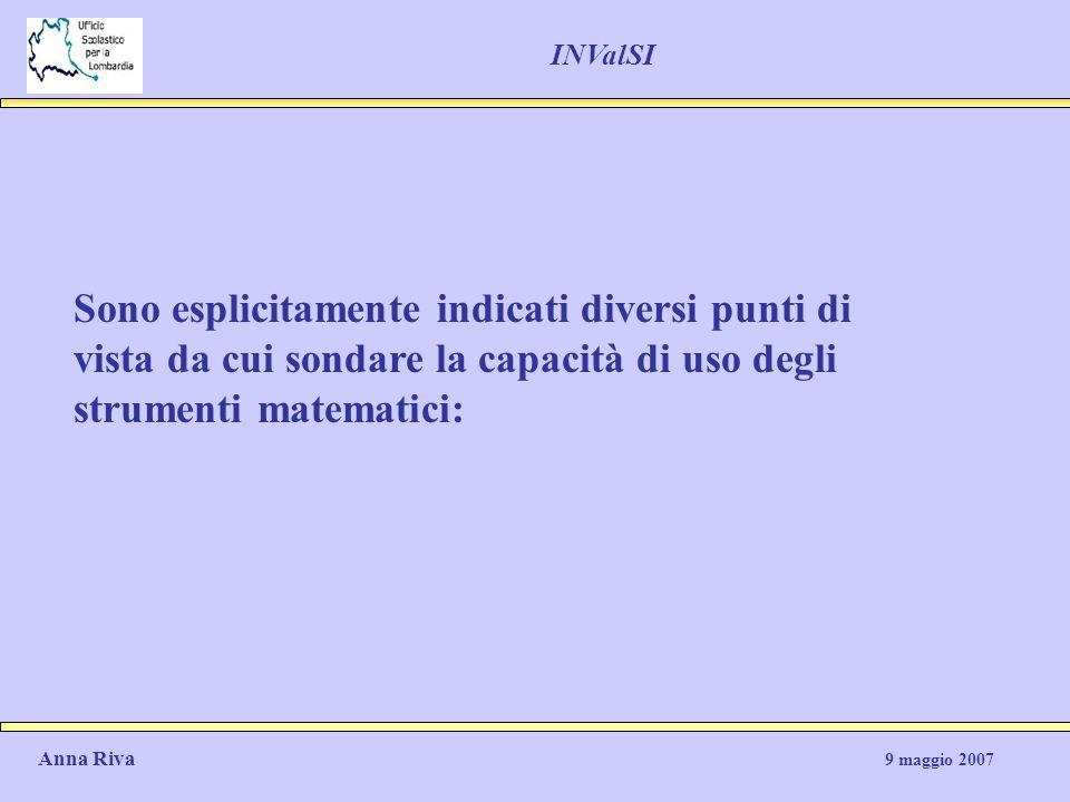 INValSI Sono esplicitamente indicati diversi punti di vista da cui sondare la capacità di uso degli strumenti matematici: