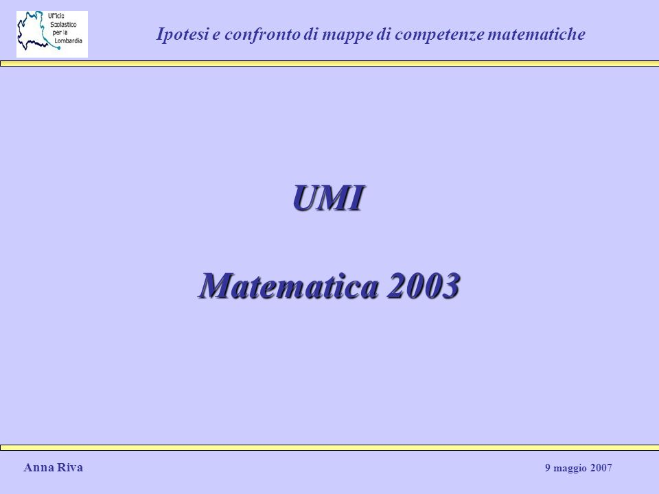 Ipotesi e confronto di mappe di competenze matematiche