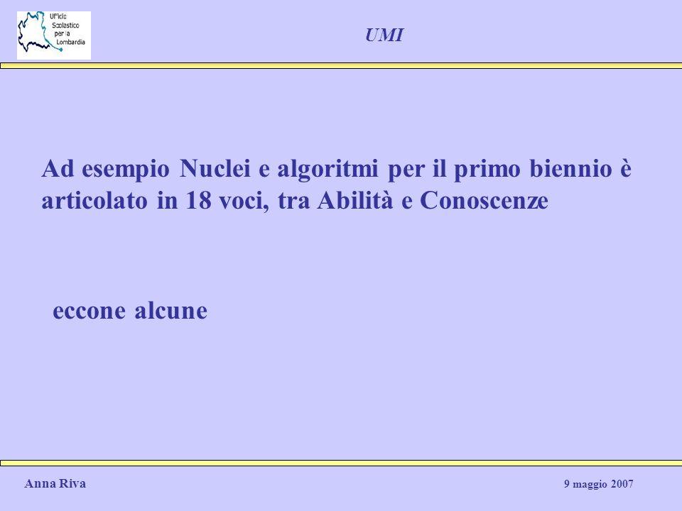 UMI Ad esempio Nuclei e algoritmi per il primo biennio è articolato in 18 voci, tra Abilità e Conoscenze.