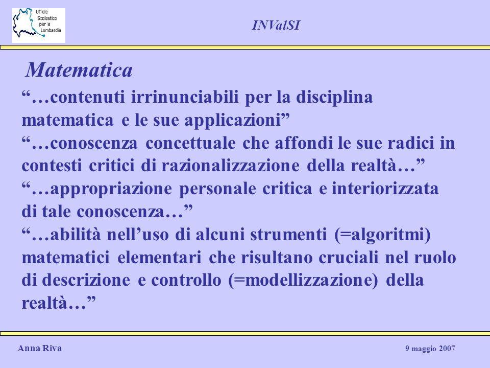 INValSI Matematica. …contenuti irrinunciabili per la disciplina matematica e le sue applicazioni