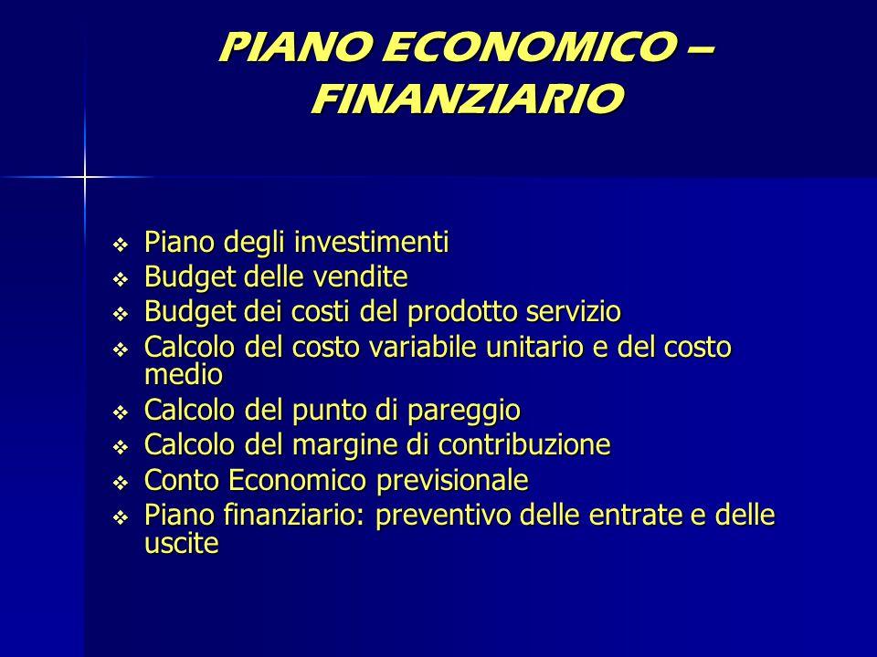 PIANO ECONOMICO – FINANZIARIO