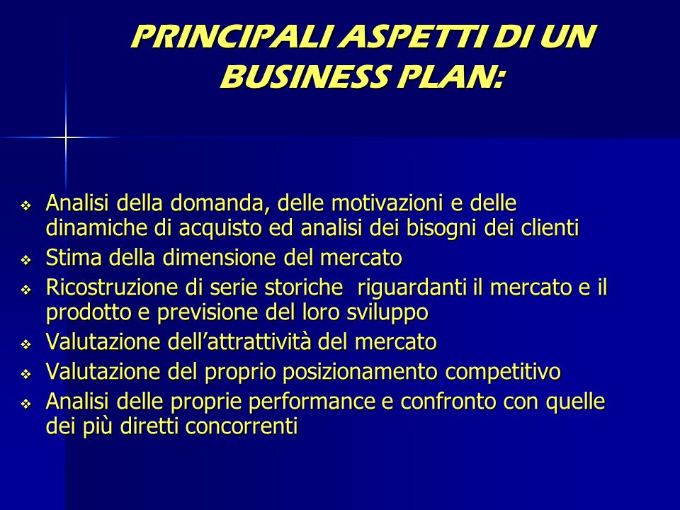 PRINCIPALI ASPETTI DI UN BUSINESS PLAN: