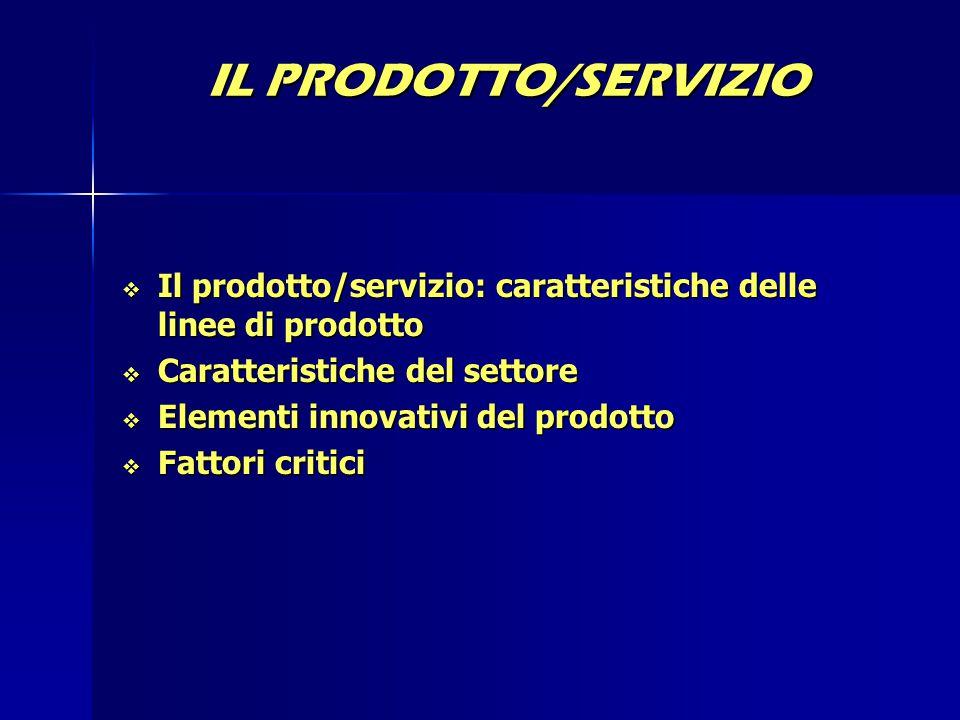 IL PRODOTTO/SERVIZIO Il prodotto/servizio: caratteristiche delle linee di prodotto. Caratteristiche del settore.