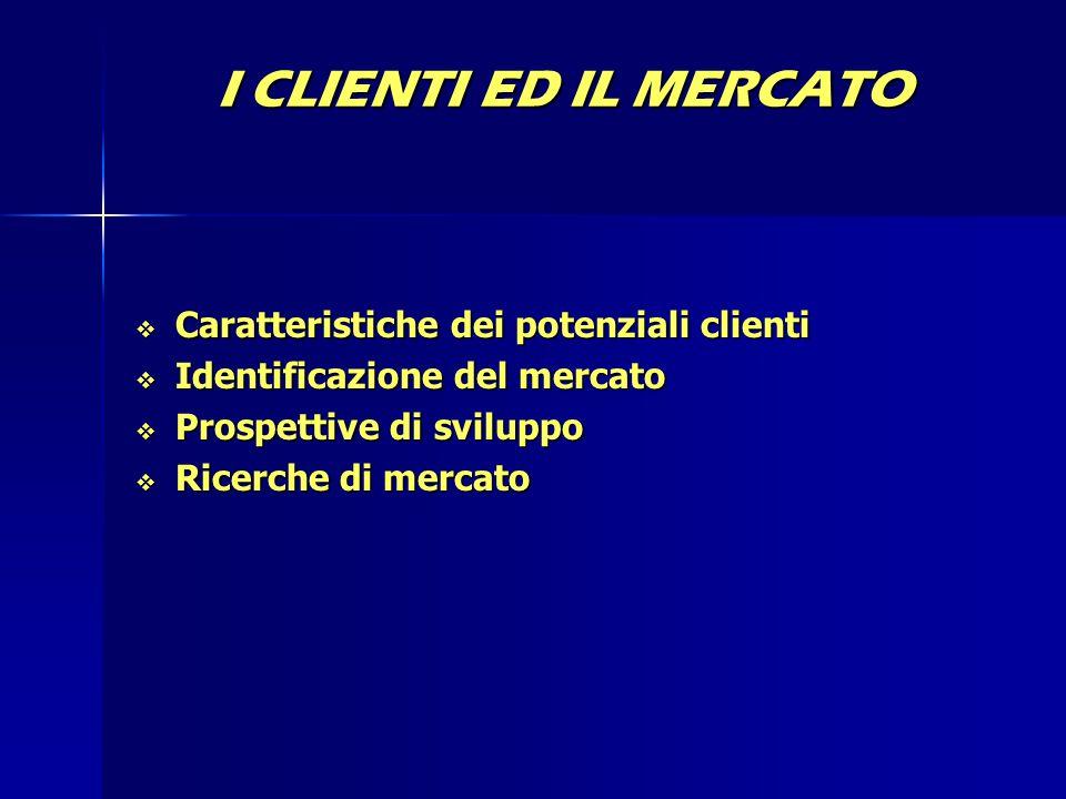 I CLIENTI ED IL MERCATO Caratteristiche dei potenziali clienti
