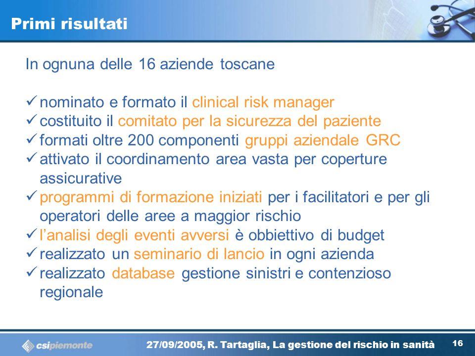 Primi risultati In ognuna delle 16 aziende toscane. nominato e formato il clinical risk manager.