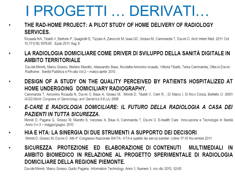 I PROGETTI … DERIVATI… THE RAD-HOME PROJECT: A PILOT STUDY OF HOME DELIVERY OF RADIOLOGY SERVICES.