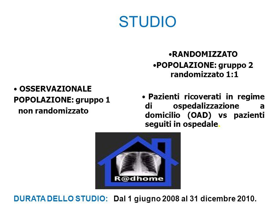 POPOLAZIONE: gruppo 2 randomizzato 1:1