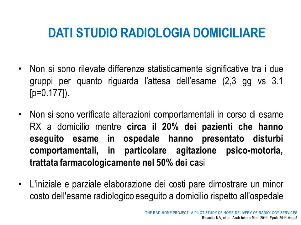 DATI STUDIO RADIOLOGIA DOMICILIARE