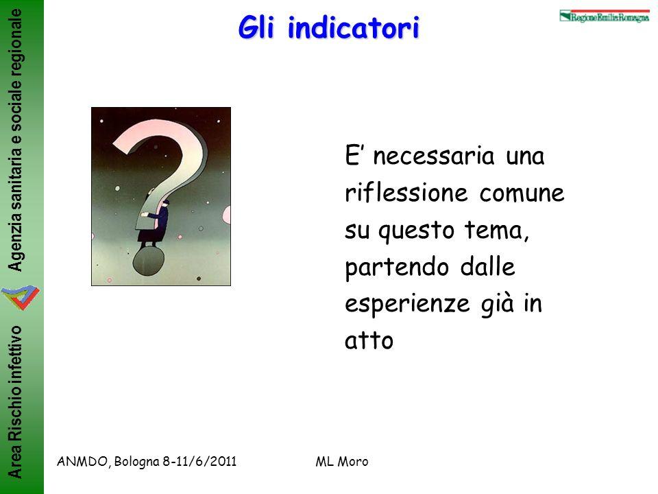 Gli indicatori E' necessaria una riflessione comune su questo tema, partendo dalle esperienze già in atto.