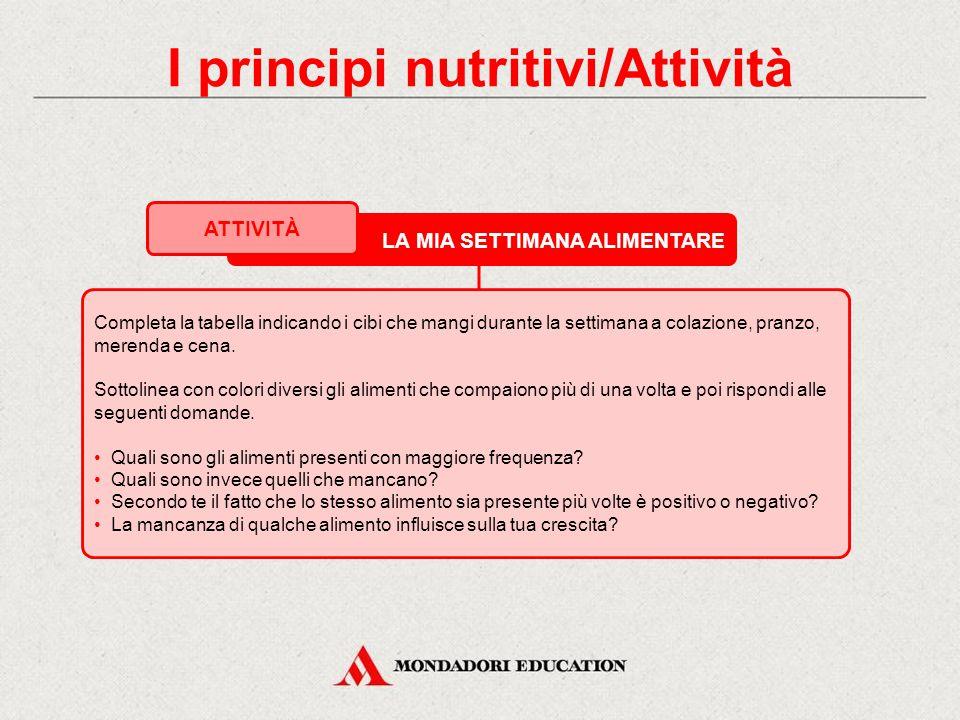 I principi nutritivi/Attività
