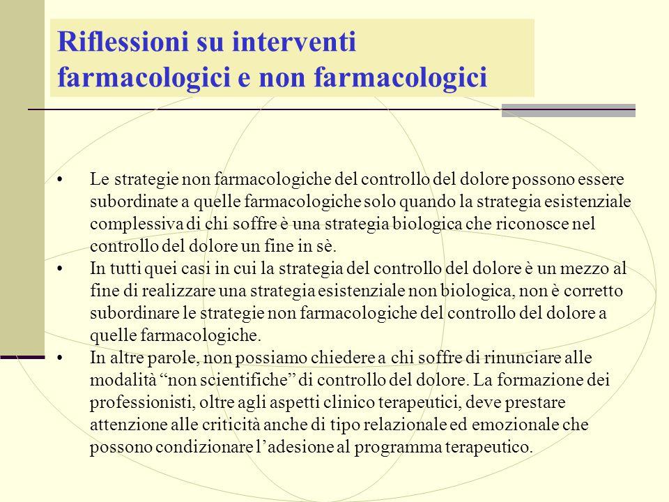 Riflessioni su interventi farmacologici e non farmacologici