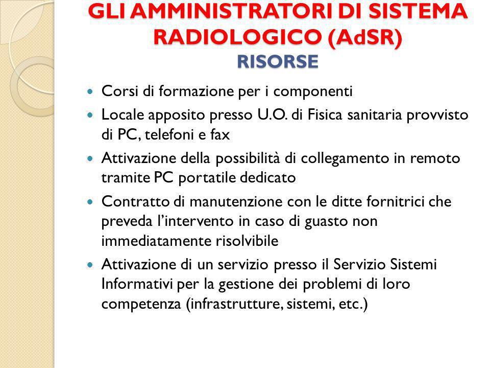 GLI AMMINISTRATORI DI SISTEMA RADIOLOGICO (AdSR) RISORSE