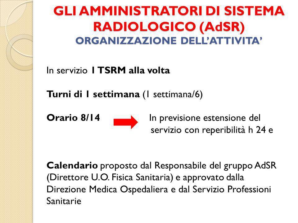 GLI AMMINISTRATORI DI SISTEMA RADIOLOGICO (AdSR) ORGANIZZAZIONE DELL'ATTIVITA'