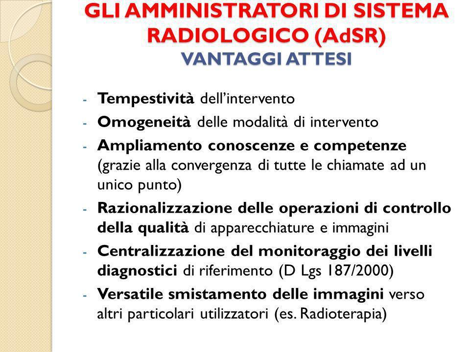 GLI AMMINISTRATORI DI SISTEMA RADIOLOGICO (AdSR) VANTAGGI ATTESI