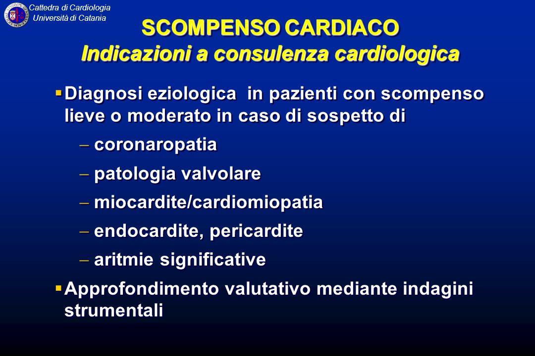 SCOMPENSO CARDIACO Indicazioni a consulenza cardiologica