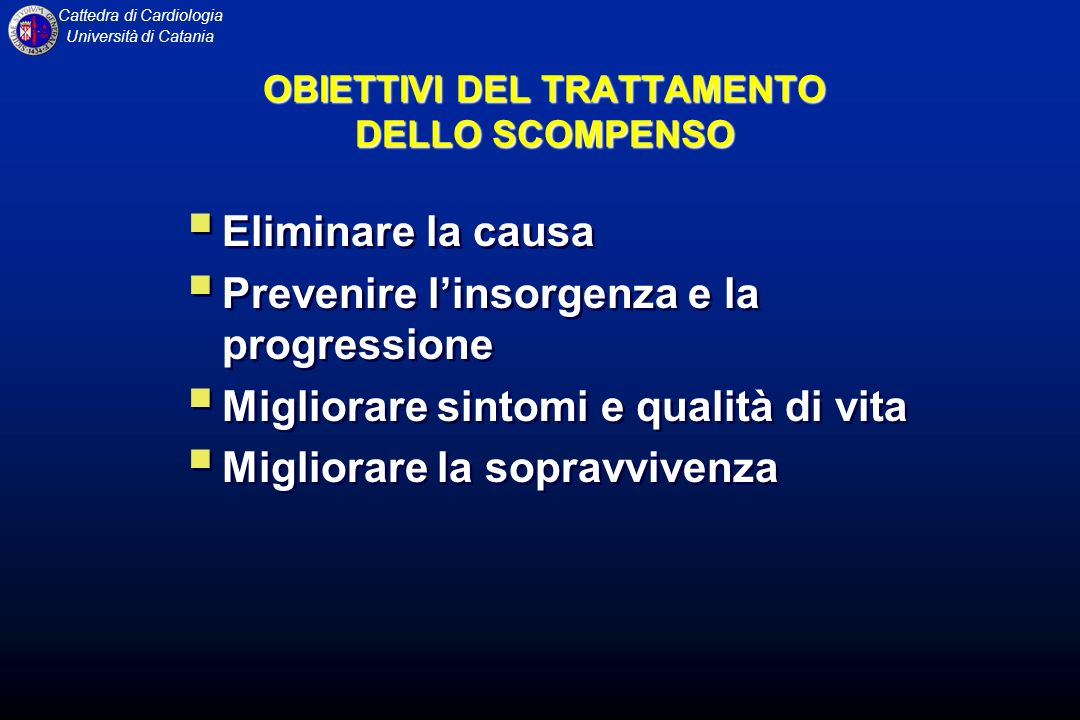 OBIETTIVI DEL TRATTAMENTO DELLO SCOMPENSO