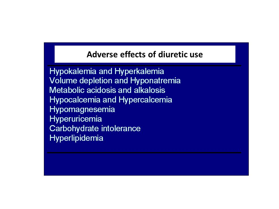 Adverse effects of diuretic use