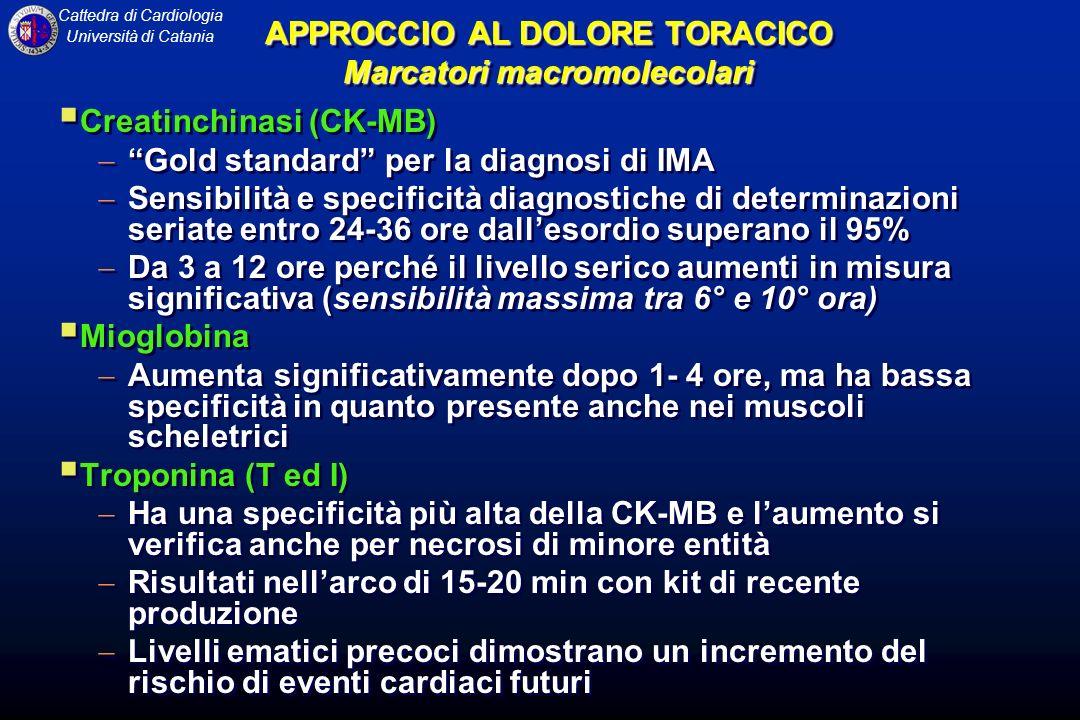 APPROCCIO AL DOLORE TORACICO Marcatori macromolecolari