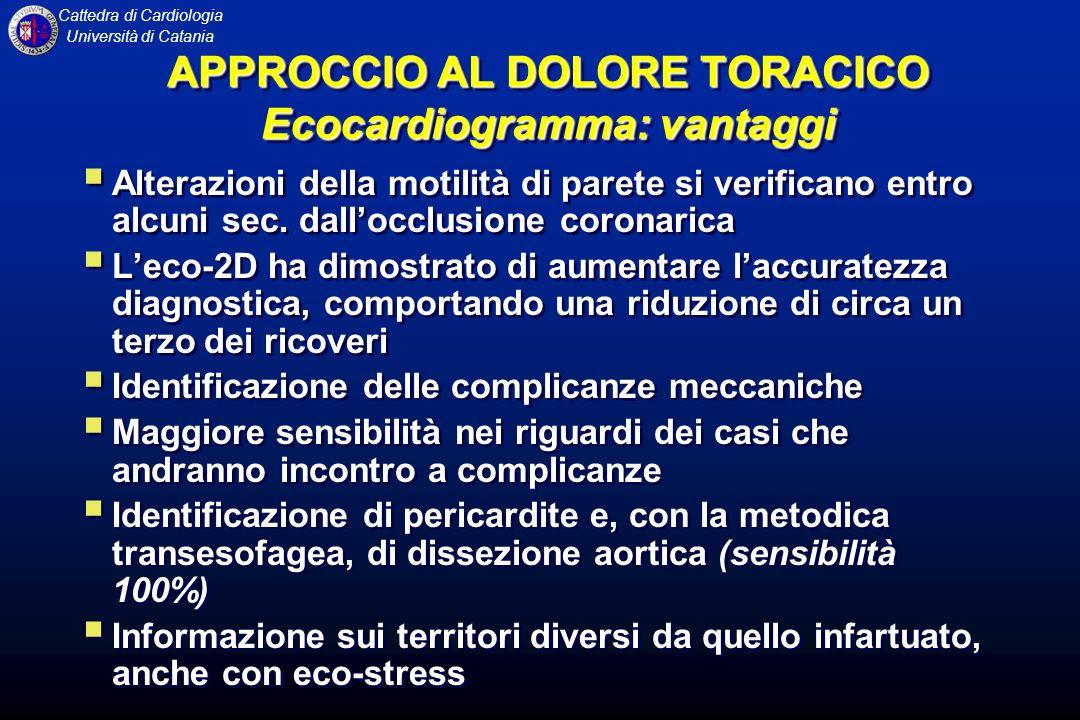 APPROCCIO AL DOLORE TORACICO Ecocardiogramma: vantaggi