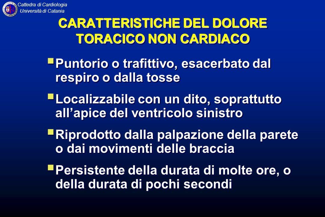 CARATTERISTICHE DEL DOLORE TORACICO NON CARDIACO