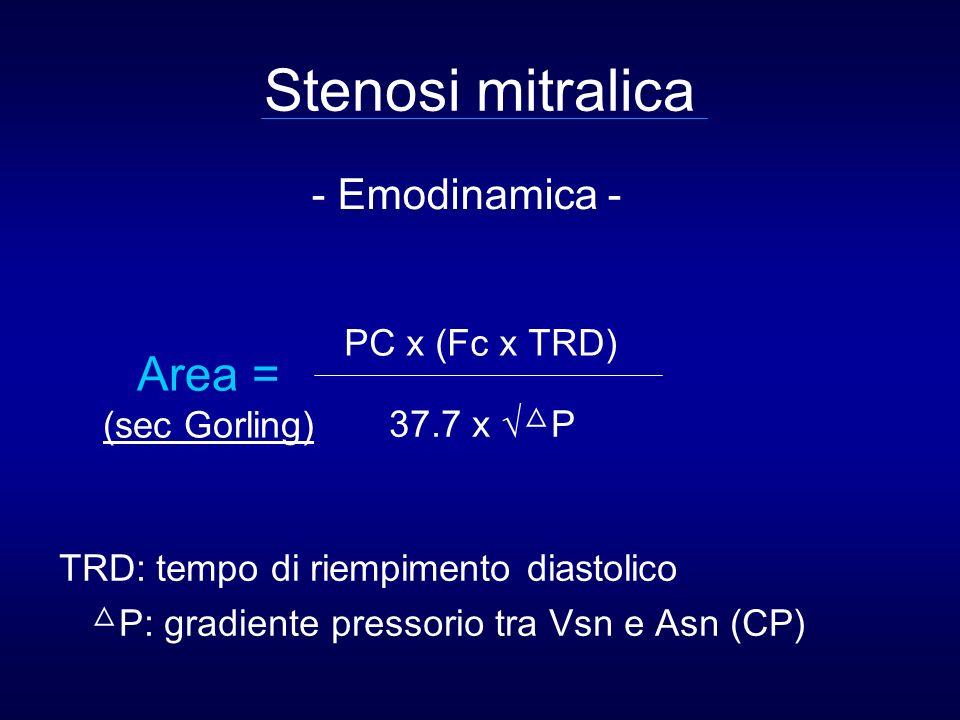 Stenosi mitralica Area = - Emodinamica - PC x (Fc x TRD) (sec Gorling)