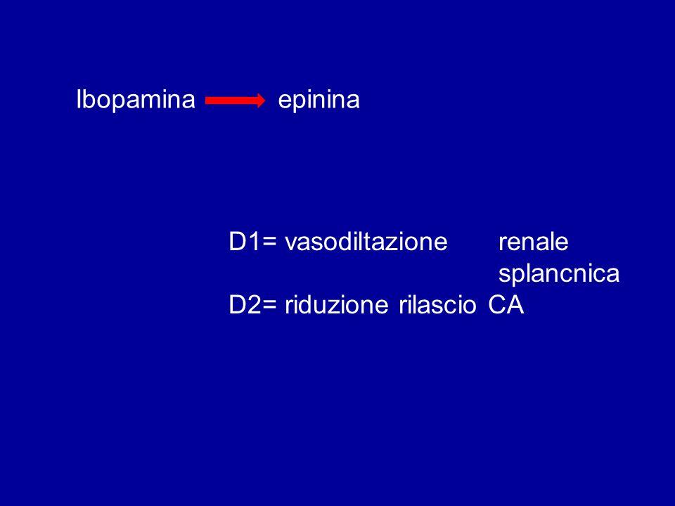 Ibopamina epinina D1= vasodiltazione renale splancnica D2= riduzione rilascio CA