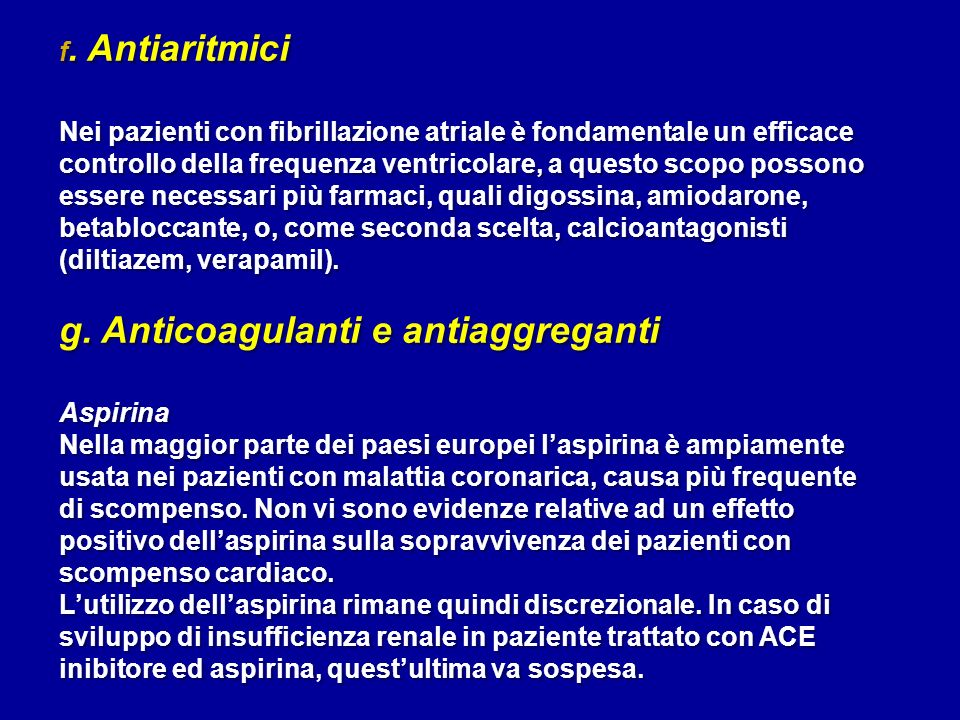 g. Anticoagulanti e antiaggreganti