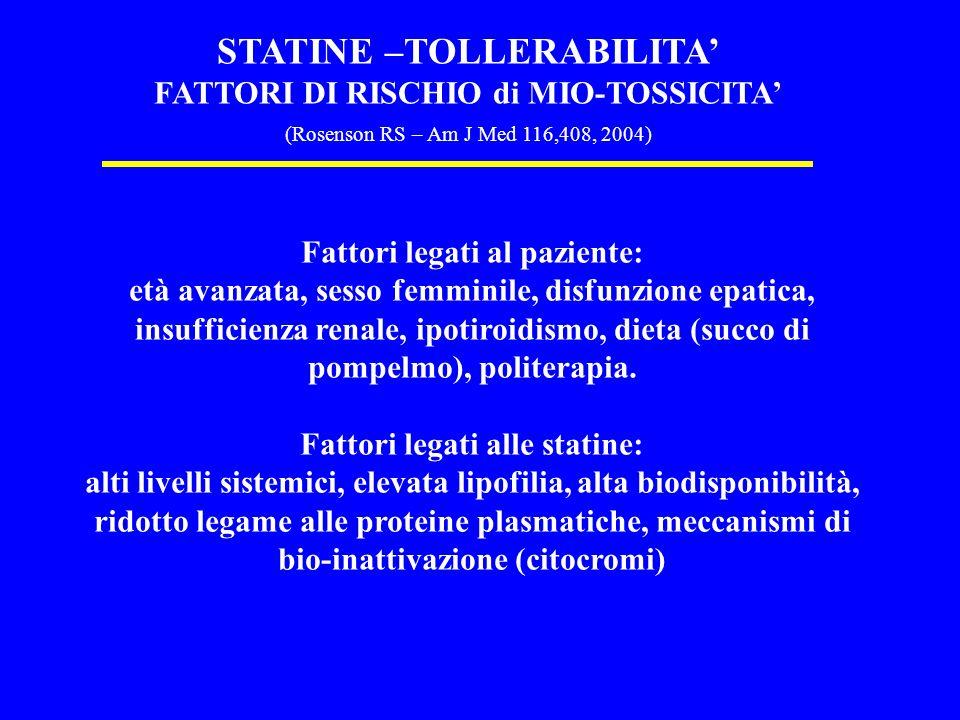 STATINE –TOLLERABILITA'