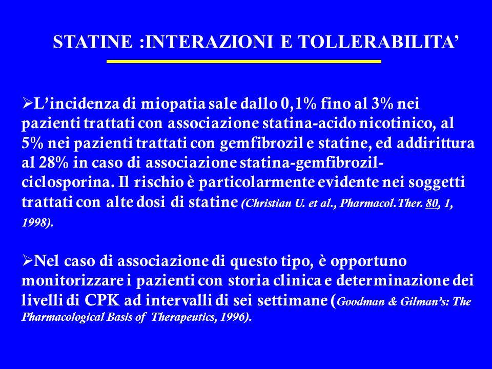 STATINE :INTERAZIONI E TOLLERABILITA'
