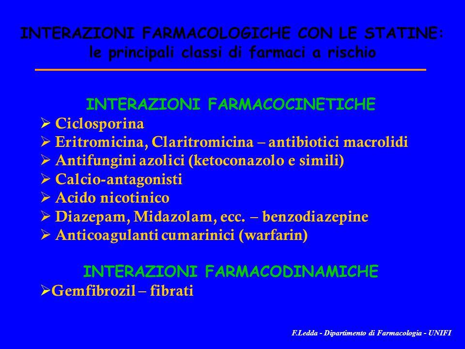 INTERAZIONI FARMACOLOGICHE CON LE STATINE: