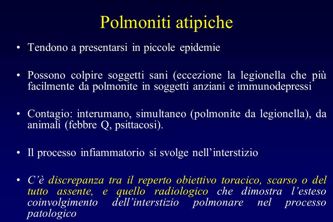Polmoniti atipiche Tendono a presentarsi in piccole epidemie