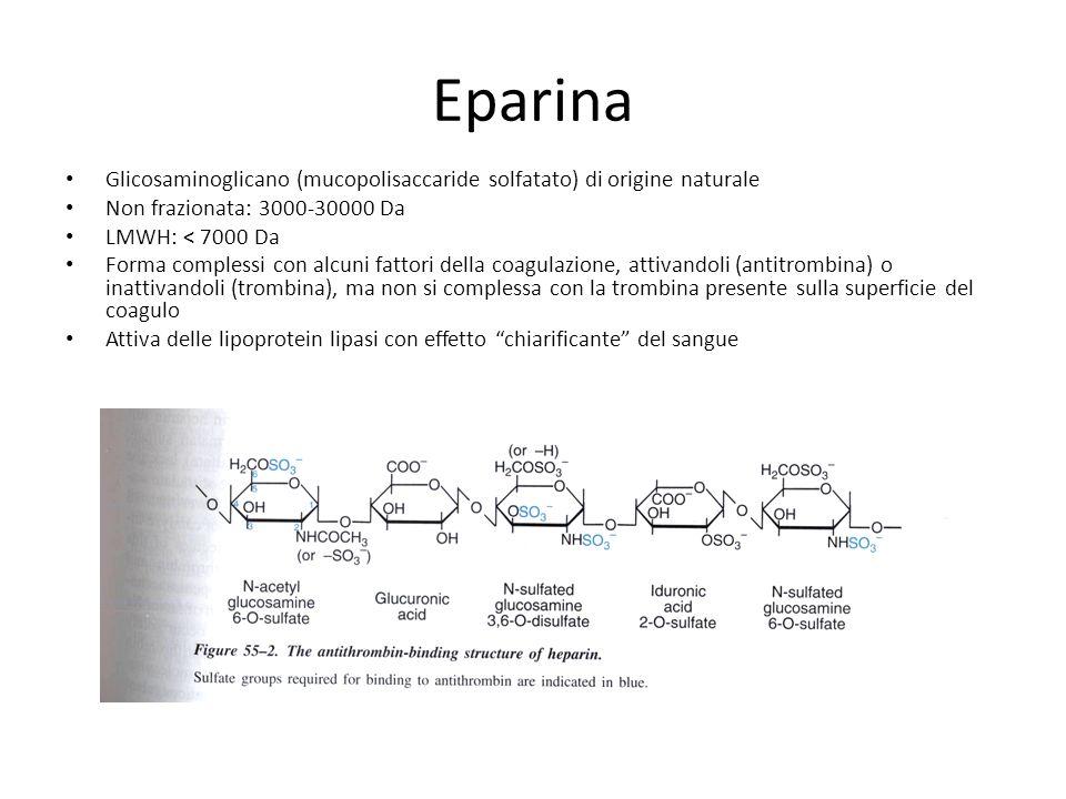 Eparina Glicosaminoglicano (mucopolisaccaride solfatato) di origine naturale. Non frazionata: 3000-30000 Da.
