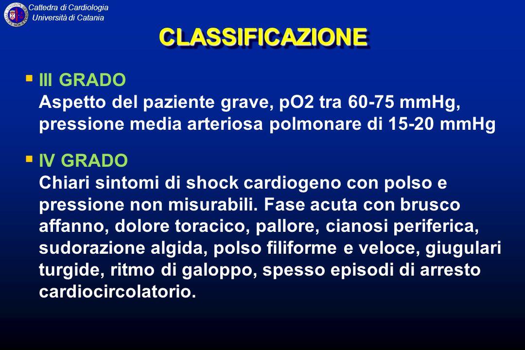 CLASSIFICAZIONE III GRADO Aspetto del paziente grave, pO2 tra 60-75 mmHg, pressione media arteriosa polmonare di 15-20 mmHg.